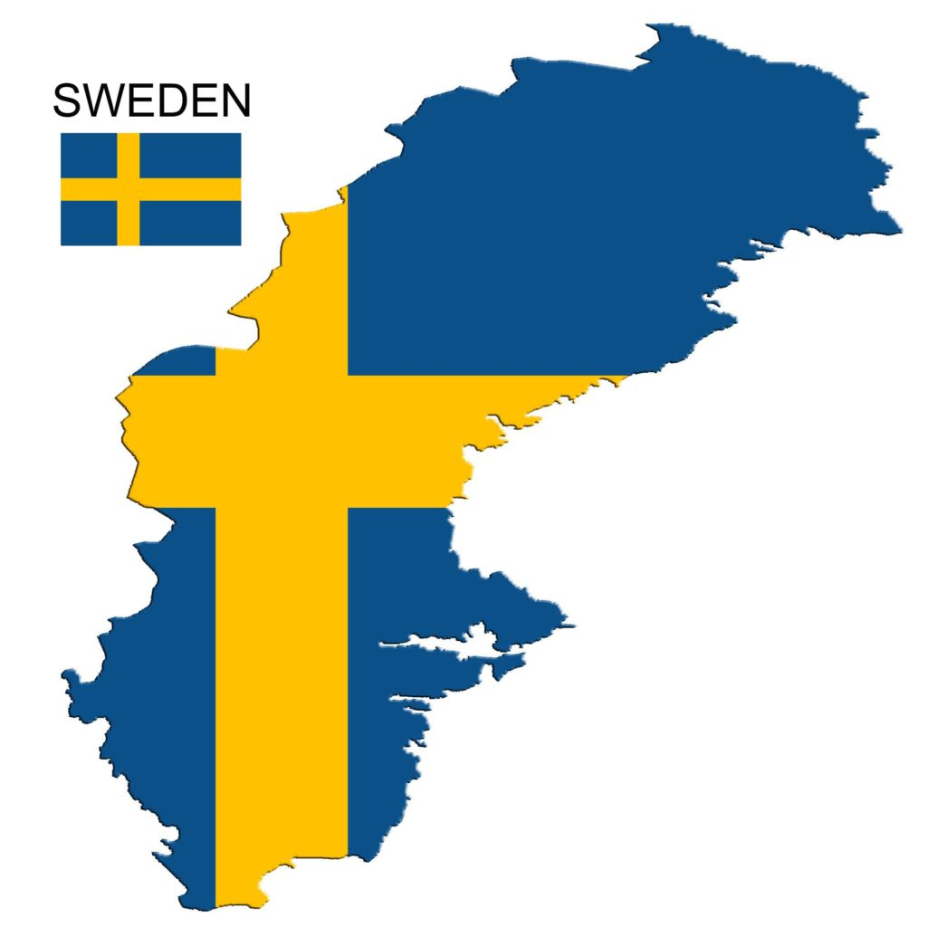 Sweden flag map